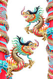 Two Dragon statues in Chinese temple. Stock Image