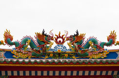 Two dragon and two phoenix Chinese art in Chinese temple Royalty Free Stock Photography