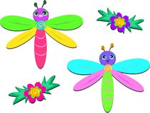 Two Dragonflies and Two Flowers Stock Photos