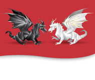 Two dragons. As yin and yang symbol concept - black and white dragons stock illustration