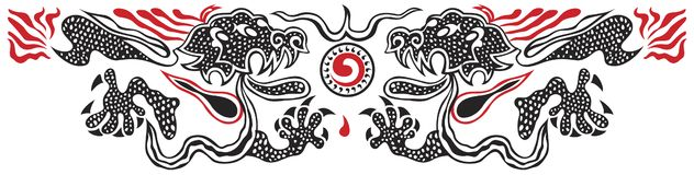Two dragons. Two fighting red and black dragons on white background vector illustration