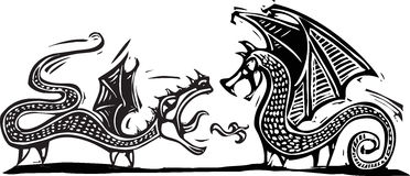 Two Dragons. Woodcut expressionist style image of two fighting dragons Royalty Free Stock Photo
