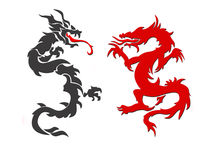 Two dragons. China, japan, red, black Stock Photos