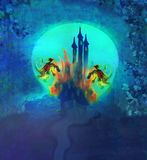 Two dragons attacking the castle Royalty Free Stock Images