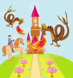 Two dragons attacking the princess castle. Illustration stock illustration