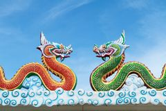 Two dragons with blue sky.  Royalty Free Stock Photography