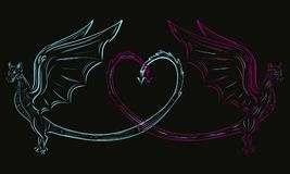 Two dragons and a heart.  Stock Images