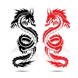 Two dragons red and black, in fight, silhouette on white backgro. Und, vector Stock Image
