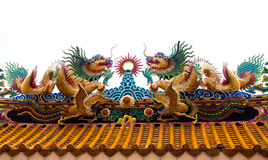 Two dragons on the roof. Two dragons gold on the roof at attractions in chinese temple, thailand. Generality in thailand, any kind of art decorated in buddhist Stock Photography
