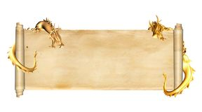 Two dragons and scroll of old parchment. Two gold dragons and scroll of old parchment. Object isolated on white background. Copy space for text. Mock up template Royalty Free Stock Images
