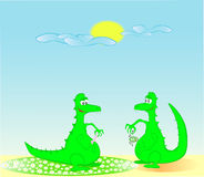 Two dragons in the solar morning Stock Images