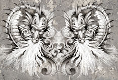 Two Dragons, tattoo illustration over grey wall Stock Photography