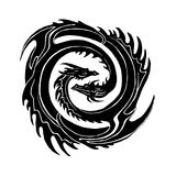 Two dragons yin Yan symbol. A pair of stylized winged snakes form a spiral embracing vector illustration
