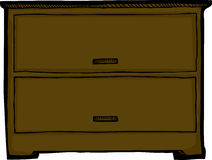 Two Drawer Dresser. Dresser with two drawers over isolated background royalty free illustration