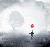 Two dreamy ink and watercolour paintings combined Stock Photos
