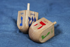 Two Dreidels Royalty Free Stock Photography