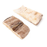 Two Dried Salt Cod Fillets Isolated Stock Image