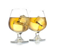 Two drinks. Two glass of drinks on a white background Royalty Free Stock Images