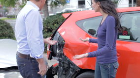 Two Drivers Arguing After Traffic Accident stock footage