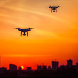 Two drone quad copters with high resolution digital camera Royalty Free Stock Photos