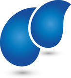 Two drops, water and drops logo. Two drops in blue, water and drops logo Stock Photo