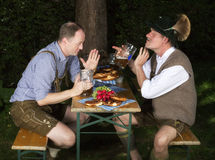 Two drunk bavarian men Royalty Free Stock Images