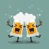 Two drunk beer glasses character. Vector illustration Royalty Free Stock Photography