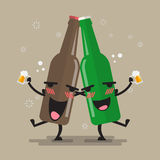 Two drunk beer glasses character. Vector illustration Royalty Free Stock Image