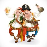 Two drunk pirates are drinking holding each other Royalty Free Stock Photo