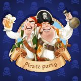 Two drunken pirates with rum and beer. Banner for Pirate party Royalty Free Stock Photography