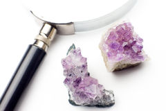 Two Druze amethyst and magnifier on a white background. Stock Photo
