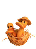 Two ducklings in nest. This is the cropped image of two ducks, ceramic toys Royalty Free Stock Image