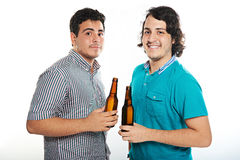 Two dudes with beers Stock Photo