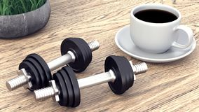 Two dumbbells and a cup of coffee. 3D rendering stock illustration