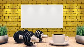 Two Dumbbells and a cup of coffee on a wooden table. Concept for workout plan. yellow brick wall. 3d illustration vector illustration
