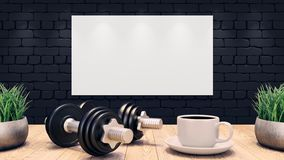 Two Dumbbells and a cup of coffee on a wooden table. Fitness training plan on the black brick wall. 3d illustration stock illustration