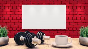 Two Dumbbells and a cup of coffee on a wooden table. Fitness training plan on the red brick wall. 3d illustration vector illustration