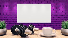 Two Dumbbells and a cup of coffee on a wooden table. Mosk up Poster on the purple brick wall. 3d illustration royalty free illustration