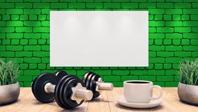 Two Dumbbells and a cup of coffee on a wooden table. Workout template. green brick wall. 3d illustration royalty free illustration