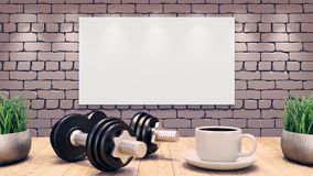 Two Dumbbells and a cup of coffee on a wooden table. Workout template. grey brick wall. 3d illustration vector illustration