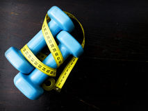 two dumbbells for fitness weight loss Royalty Free Stock Photo