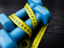 Two dumbbells for fitness weight loss Stock Images