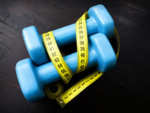 Two dumbbells for fitness weight loss Stock Photo