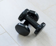 Two dumbbells on the floor Royalty Free Stock Image