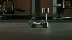 Two dumbbells in gym. Wide shot stock video