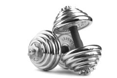 Two dumbbells isolated over white background Royalty Free Stock Photo