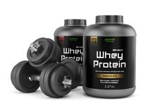 Two dumbbells and jars of protein Stock Photography