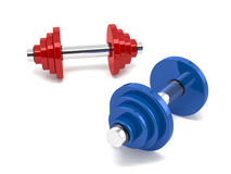 Two dumbbells over white background Royalty Free Stock Photos