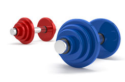 Two dumbbells over white background Royalty Free Stock Photography