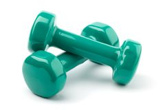 Two dumbbells on white Stock Photography